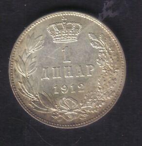 Kingdom Serbia – 1 dinar 1912 –Silver - Ruler Peter I – XF+