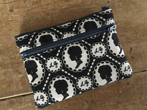 Handmade Coin Purse Credit Card 2 Compartment Lulu Guiness Cameo Fabric