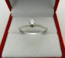 ELEGANT 750 (18k)  WHITE GOLD DIAMOND G/VS SOLITAIRE 0.25 ct ENGAGEMENT  RING