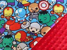 Marvel Avengers Kawaii*Spiderman*Cpt America*Thor fabric/Red Minky Baby Blanket
