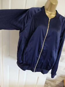 BIBA ● 12 ● navy blue satin bomber jacket tops womens ladies