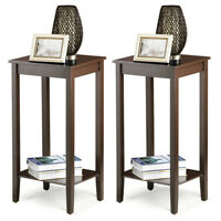 Set of 2 Tall End Table Sofa Chair Side Accent Stand Coffee Nightstand w/ Shelf