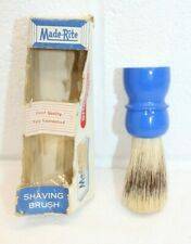Vintage Made-Rite Shaving Brush in Original (Crushed) Box SUPER RARE BLUE COLOR!