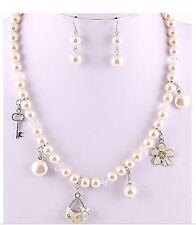 Pearl Necklace Set Flower Handbag Key Pendant Necklace Pearl Charm Necklace