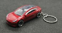 Hotwheels tesla model 3 keyring diecast car