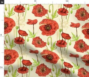 Poppy Meadow Red Scarlet Blossom Poppies Blue Spoonflower Fabric by the Yard