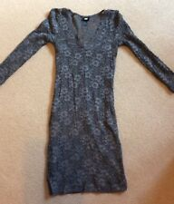 SEXY H&M HENNES GREY SHIMMER LACE MINI BODYCON 3/4 SLEEVE DRESS SIZE SMALL 10