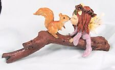 Fairy Kissing Squirrel on a Branch Fantasy Resin Figurine
