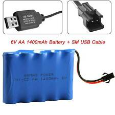 6V 1400mAh RC Ni-Cd AA Toy Car Rechargeable Battery w/ SM USB Plug Charger Cable