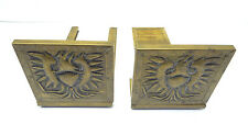 Vintage Used Old Wooden & Brass American Eagle Decorative Book Ends Bookends