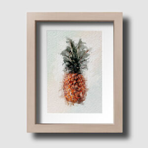 Pineapple Print Fruit Botanical Tropical Watercolour Wall Art Picture Unframed