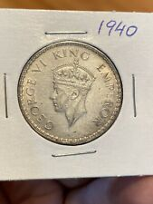 British India One Rupee 1940 Silver Coin, King George 6. Very Lustrous!