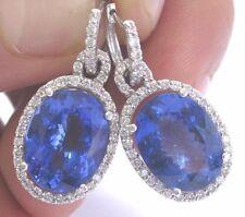 "18Kt Gem Vivid Tanzanite Diamond White Gold Drop Earrings 1.25"" 14.88Ct"