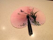 Ladies Folding Hand Fan Black Metal W/ Paper Floral Design Very Pretty & Nice