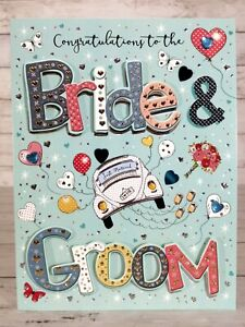 Congratulations To the Bride & Groom, Just Married Wedding Card, 3d Effect