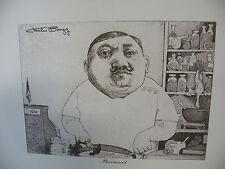 "Art print Charles Bragg artist black Lithograph ""Neurologist"" Duotone Signed"
