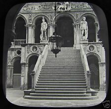 Glass Magic lantern Slide VENICE GIANTS STAIRCASE FRONT VIEW C1890 ITALY L65