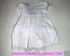 Newborn Dress - White Polyester Embroidered size 0-3mos (Handmade)