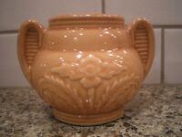 Vintage Peach Apricot Handled Decorative Pot Jar Vase (Sugar Bowl?) Pottery