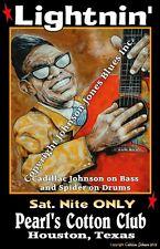 Poster Lighnin' Hopkin's by Cadillac Johnson 12  18 in