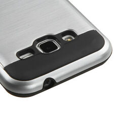 Samsung Galaxy Core Prime G360 - HARD TPU HYBRID BRUSHED METAL SILVER CASE COVER