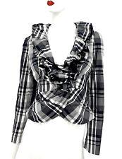 Alberto Makali Plaid Peplum Taffeta Ruffle Jacket SZ 6 Statment Crinkle Blazer
