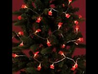 NEW 30 RED SANTA CHRISTMAS LIGHTS INDOOR STATIC EFFECT