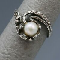 Size 9 Vintage Akoya Pearl Victorian Style Sterling Silver Claw Ring 2.4g