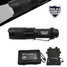Police Force T6 LED Tactical Mini FLASHLIGHT w/ Deluxe Case Battery Home Charger