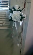 WHITE WEDDING PEW BOWS SET OF 6  WITH CLIPS WHITE OR ANY COLOR