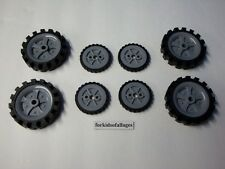 "8 KNEX WHEELS LOT: 4 Medium Tires 2.5"" & 4 Small Tires 1.75"" w/Gray Hubs/Pulleys"