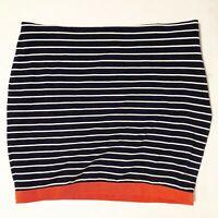 Ann Taylor Size 10 Black White Orange Striped Stretch Pencil Skirt