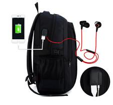 "16"" Waterproof Men Swiss Gear Laptop Backpack Travel Business USB Port Music Bag"