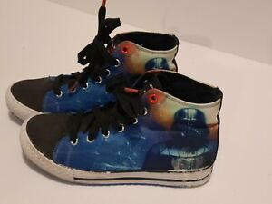 Sketchers Star Wars High Tops Boys Darth Vader Shoes Size 3 Pre Owned