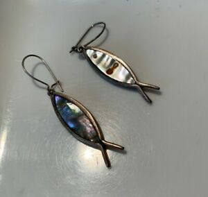 .925 Sterling Silver IXOYE Ichthus Fish Sign Abalone Shell Kidney Wire Handmade