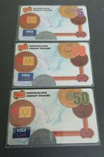 1996 $5,$20 & $50 SET - VISA CASH CARDS - ACU -RELEASED IN QUEENSLAND ONLY -MINT