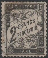 """FRANCE STAMP TIMBRE TAXE N° 23 """" TYPE DUVAL 2 FRANCS NOIR """" OBLITERE A VOIR J688"""