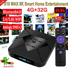 8K X10 MAX 4+32G Android 9.0 5.8G WIFI BT TV BOX Amlogic USB3.0 UK Media Player