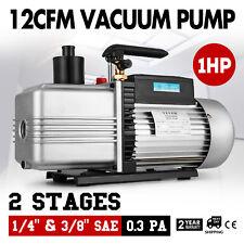 Vacuum Pump Dual 2 Stage 12CFM 1 HP Rotary Vane Deep HVAC AC Air Tool R410a R134