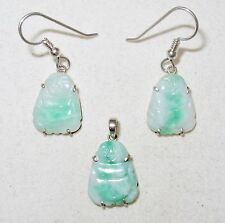 Chinese Silver & Carved Green JADEITE Jade Buddha Earrings & Pendant Set  (5.5g)
