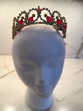 NEW! Professional Red Gold AB Crystal Ballet Variation Tiara Headpiece Crown