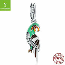 Authentic 925 Sterling Tropical Parrot Teal & Green Clear CZ Dangle Charm Beads