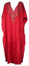 Vermont Country Store Red Print Caftan Dress with Naqui New York Label One Size