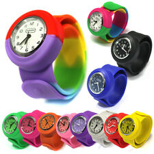 Childrens Unisex Silicone Rubber Slap Wrist Pop Watch For Boys Girls Kids Gift