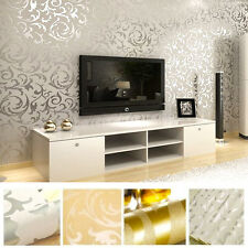 Victorian Damask Luxury Wallpaper 3D | Feature Wall Silver & Grey | Gold