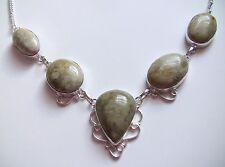 "Women's Necklace Green Jasper Gemstone Sterling Silver Metal Handcrafted 19"" L"