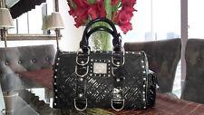 Pre-Owned Black Versace Tote Satchel Handbag with Studs