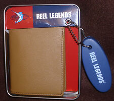 Reel Legends Tan Leather L Flip-fold Wallet Tin Gift Box Floating Keychain NWT
