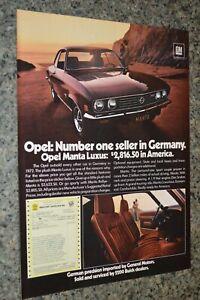 ★★1973 OPEL MANTA RALLYE ORIGINAL ADVERTISEMENT AD PRINT 73