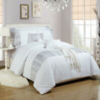 Sequin Embellished Duvet Cover Bedding Set White Single Double King Super King